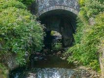 Bro inom en gammal bro på en flod Royaltyfria Bilder