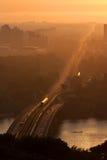 bro kiev över patonsoluppgången ukraine ukraine Royaltyfria Bilder