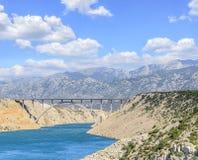 Bro Maslenica på huvudvägen A1, Kroatien Royaltyfri Foto