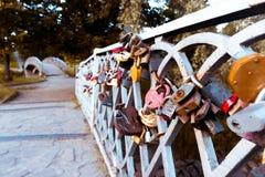 Bro med bröllopsresalås Royaltyfri Foto