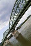 Bro mellan Slovakien och Ungern Arkivfoton