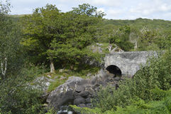 Bro och flod på cirkeln av Kerry, Irland royaltyfria foton