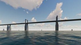 Bro och hav med fartyget lager videofilmer