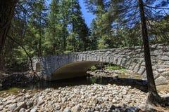 Bro och Merced flod och skog Royaltyfri Bild