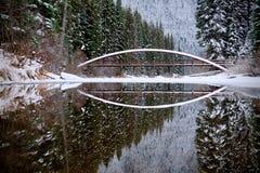 Bro och reflexion Vinterskog och sjö Blixt sjö Manning Park hope flyg- brittisk columbia i stadens centrum vancouver sikt Kanada Royaltyfri Foto
