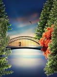 Bro ovanför sjön på solnedgången royaltyfri illustrationer