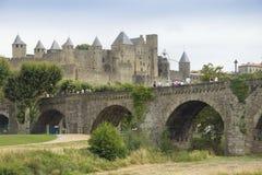 Bro på Carcassonne Royaltyfria Bilder