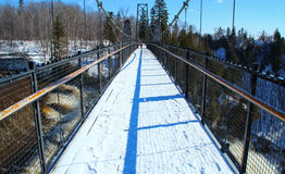 Bro på de Montmorency nedgångarna i Quebec City, Kanada royaltyfri bild