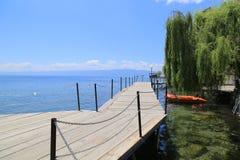 Bro på sjön av Ohrid Royaltyfri Foto
