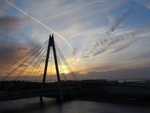 Bro på solnedgången Royaltyfria Bilder