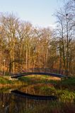 Bro reflekterad i vatten i en parkera Arkivbilder