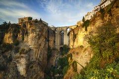 Bro Ronda Malaga Spain på den Tajo kanjonen Arkivbild