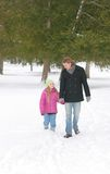 Bro and sis in winter Stock Photo