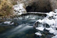 bro som frysas över rakfloden slovenia Arkivfoto