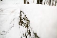 Bro som täckas i snö Arkivfoto