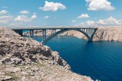 Bro till ön av Pag Royaltyfri Foto