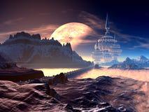 Bro till den stod hög främmande staden på det avlägsna planet stock illustrationer