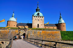 Bro till det Kalmar slottet, Sverige Arkivbild