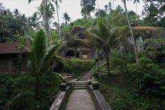 Bro till och med djungeln i en stentempel Bali Indonesien Arkivbild