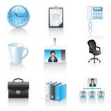 Büro- und Geschäftsikonen Stockfotografie