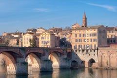 Bro över en flod på Albi Royaltyfria Bilder