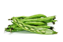 Broad bean. Close up of some broad bean pods with the beans inside royalty free stock photo