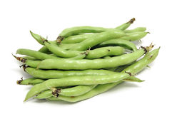Broad bean. Closeup of some broad bean pods with the beans inside stock photo
