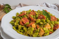 Broad bean with chorizo. Typical portuguese food. Broad bean with chorizo on vintage background. Typical portuguese food Stock Photos