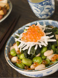 Broad Bean Daikon and Salmon Roe Royalty Free Stock Image