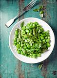 Broad Bean, Green Pea and Asparagus Salad with Herbs Stock Photography