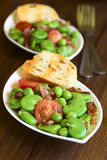 Broad Bean, Pea, Tomato and Bacon Salad Stock Photography