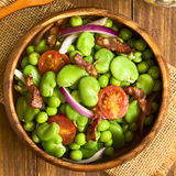 Broad Bean, Pea, Tomato, Onion and Bacon Salad Royalty Free Stock Image