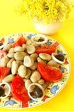 Broad bean salad royalty free stock images