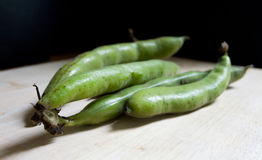 Broad beans. Close up of broad beans in their pods Royalty Free Stock Photography