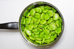 Broad beans. Or horsebeans in a pan Royalty Free Stock Photo