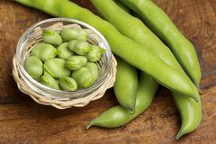 Broad beans in a glass bowl Royalty Free Stock Photography