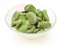Broad beans in a glass bowl Royalty Free Stock Photo