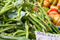 Broad beans for sale at market Stock Photography