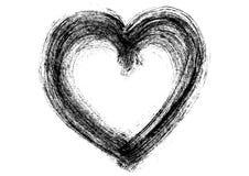 Broad brush bar black mascara - heart symbol - vector on white Stock Photo