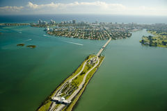 Aerial view over Miami Stock Photo