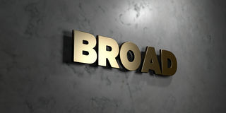 Broad - Gold sign mounted on glossy marble wall  - 3D rendered royalty free stock illustration. This image can be used for an online website banner ad or a Royalty Free Stock Photo