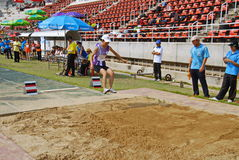 Broad jump chalege in thailand Stock Image