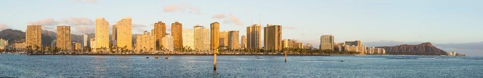 Broad panorama over Waikiki Oahu Hawaii Royalty Free Stock Images