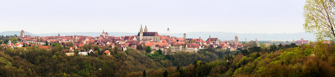 Broad panorama of Rothenburg ob der Tauber Royalty Free Stock Images