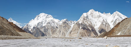 Broad Peak and Vigne Glacier Panorama, Pakistan Royalty Free Stock Image
