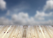 Broad planks and blue sky of blur background. Stock Images