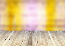 Broad planks and bright colorful blur background. Royalty Free Stock Photos