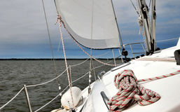 Broad reach. Image of a sailboat going downwind Stock Photos
