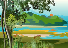 Broad River. Landscape with river and high hills of the jungle Stock Photo