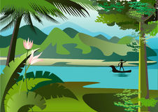 Broad River. Landscape with river and high hills of the jungle Stock Image
